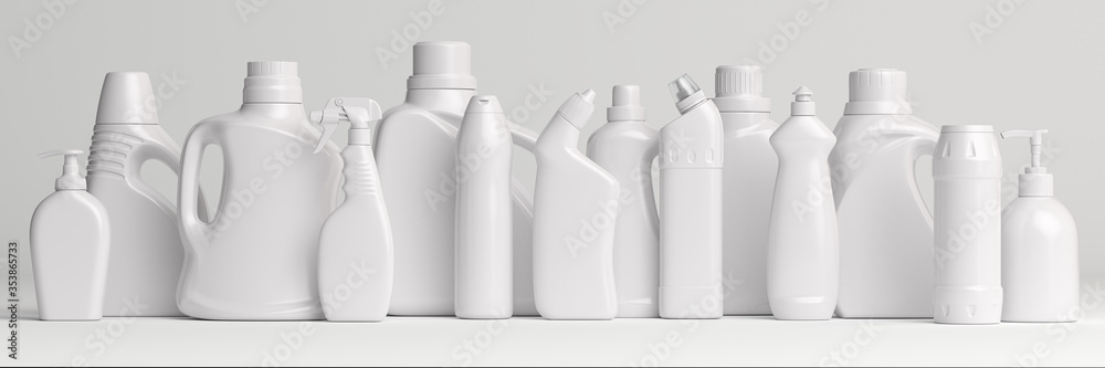 Fototapeta Set of detergent plastic bottles with chemical cleaning product  on white background.