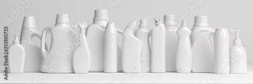 Fototapeta Set of detergent plastic bottles with chemical cleaning product  on white background. obraz