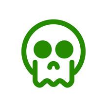 Green Skull Icon On White Background, Vector Symbol