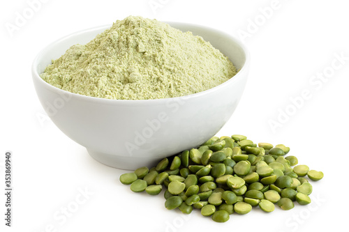 Green pea flour and green split peas. Canvas Print