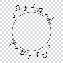 Music Notes, Round Frame, Vect...