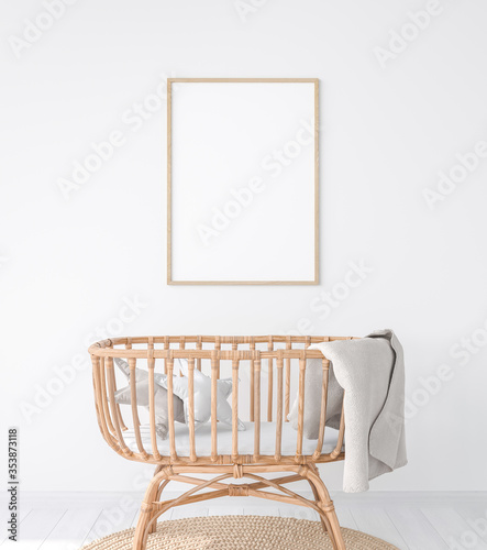 poster frame mock up for newborn bedroom in farmhouse style