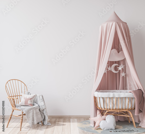 Natural wooden furniture for kids room in Scandinavian interior style, empty wall in bright newborn bedroom, 3D rendering