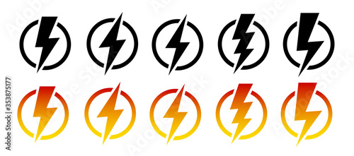 Photo Thunder and lighting icon set. Vector