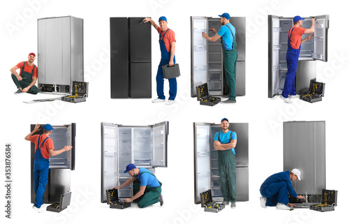 Leinwand Poster Collage of technical workers near refrigerators on white background