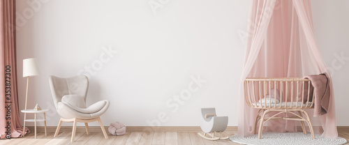 Panoramic interior for baby's room Scandinavian style, rattan crib with pink canopy, beige armchair and wooden toys on empty bright background Fototapeta
