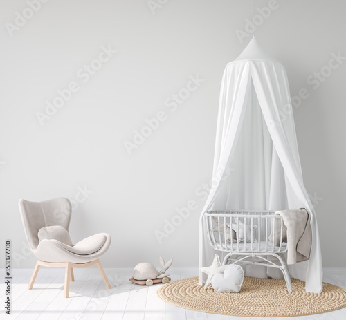 Mock Up wall In farmhouse Interior Background in baby room, nursery mockup, Scandinavian Style, 3D render