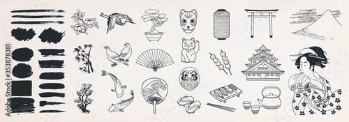 Cuadros en Lienzo Japanese doodle set