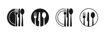 Set Of Fork, Knife, Spoon. Logotype Menu. Set In Flat Style. Silhouette Of Cutlery. Vector Illustration