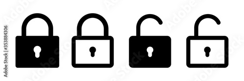 Obraz Lock vector icon. Security symbol. Lock web button design. Security system. Vector isolated lock icon. - fototapety do salonu