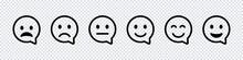 Smile Face Speech Bubble Icon. Black Vector Isolated Emoji Collection. Cutomer Feedback Concept.
