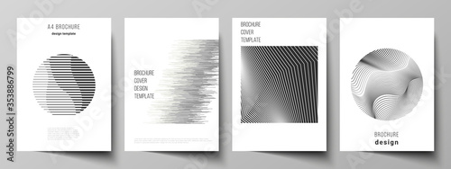 Fototapeta Vector layout of A4 format modern cover mockups design templates for brochure, flyer, booklet, report. Geometric abstract background, futuristic science and technology concept for minimalistic design. obraz