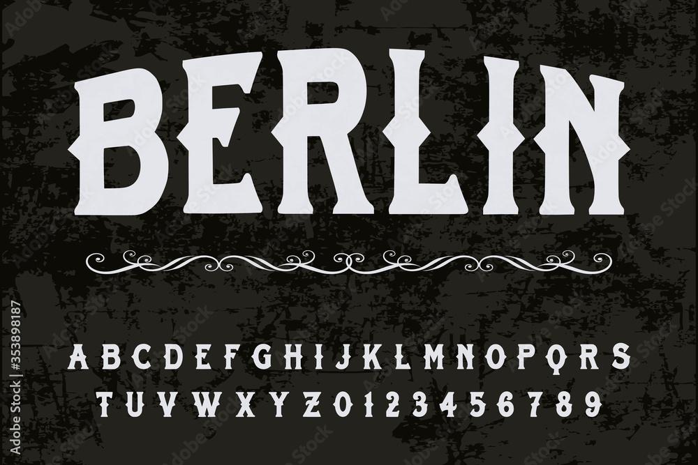 Fototapeta font alphabet, typeface design, vector of colorful stylized, shadow effect