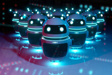 White Chatbot Robot Leading Robots Group On Dark Bluish Reddish Background 3D Rendering