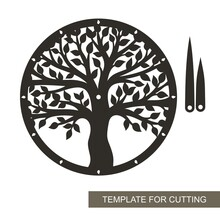 Round Dial With Decorative Tree (trunk, Branches, Leaves) Inside. Hour And Minute Hands. An Unusual Design Element For The Interior. Vector Layout For Laser Cutting (cnc).