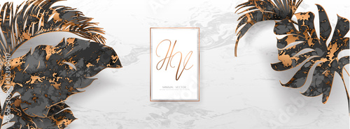 Photo Trendy vector banner with palm leaves, gold, black, white marble template, artistic covers design, colorful texture, modern backgrounds
