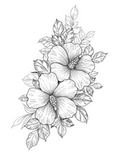 Hand Drawn Floral Bunch With H...