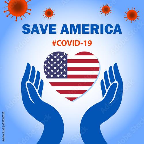 Save America with Corona Virus Wallpaper Mural