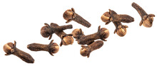 Falling Dry Cloves Isolated On White Background