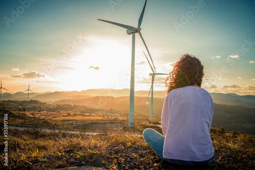 Obraz girl with windmill - fototapety do salonu