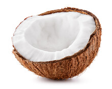 Coconut Half Isolate. Coco Isolated Side View. Open Coconut. Coco Slice On White Background.