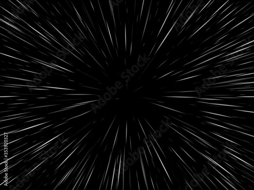 Space speed. Abstract starburst dynamic lines or rays. Vector illustration