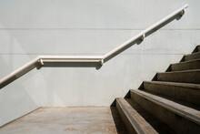 Concrete Stair In The Sport Stadium Background.