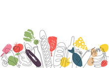 Background With  Food. Pattern With Vegetables, Fruits, Meat And Bakery Products. Continuous Drawing Style. Vector Illustration.