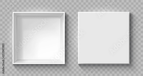 Fotografía Open and close gift boxes, white square box top view, container mockup, empty ca
