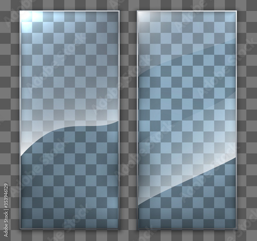 Two Glass Plate On Transparent Background Clear Glass Showcase Realistic Window Mockup Acrylic And Glass Texture With Glares And Light Realistic Transparent Glass Window In Rectangle Frame Buy This Stock Vector