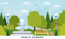 Urban Public Garden Vector Illustration In Flat Design.