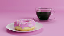 Donut Pink On A Plate On A Pink Background, A Transparent Cup With Coffee, Tea, Breakfast. 3D Rendering