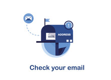 Vector Banner Illustration Of Email Marketing. Subscription To Newsletter, News, Offers, Promotions. Mailbox With A Letter And Envelope. Sending To The Recipient Address. Check Your Mail. Blue. Eps 10