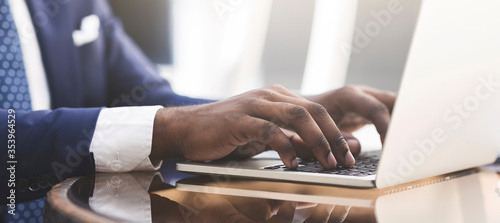 Fototapeta Businessman's Hands Typing Working On Laptop In Cafe, Panorama, Closeup obraz