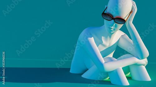 Fotografía Representación 3D de un maniquí descansando sobre un fondo azul, usando gafas de