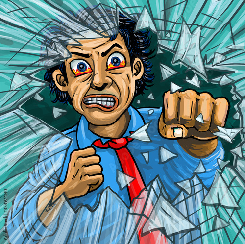 Photo Anger business man punches the glass till broken.
