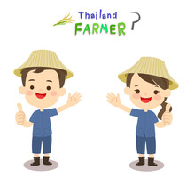 Cartoon Thai Farmer Vector