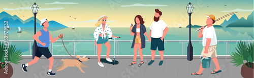 Photo People walking on quay flat color vector illustration