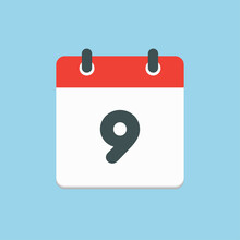 Vector Icon List Calendar Day, Date Number 9