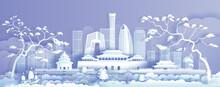 Travel Asia Landmarks Cityscape Of Beijing On Purple Background.