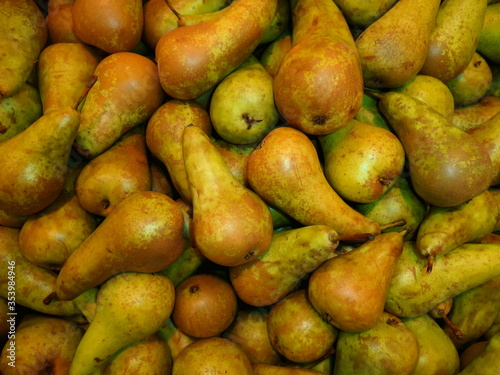 Fresh pear background orchard harvest, top view Wallpaper Mural