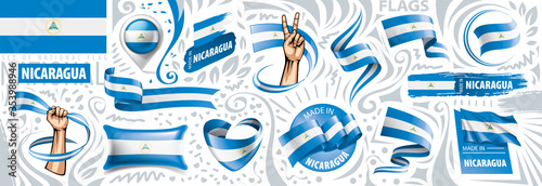 Vector set of the national flag of Nicaragua in various creative designs Wallpaper Mural