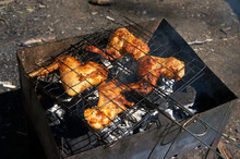 Grill With Barbecue Wings. The Concept Of Picnic And Rest.
