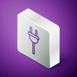 Isometric line Electric plug icon isolated on purple background. Concept of connection and disconnection of the electricity. Silver square button. Vector. Illustration