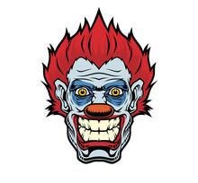 Evil Cartoon Clown Illustration.