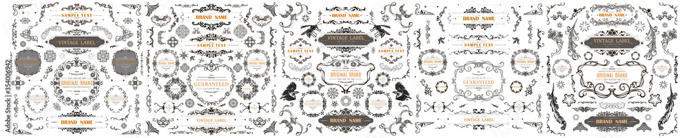 Fototapeta Set of Vintage Decorations Elements. Flourishes Calligraphic Ornaments and Frames with place for your text. Decorative swirls or scrolls, vintage frames , flourishes, labels and dividers. Retro Style