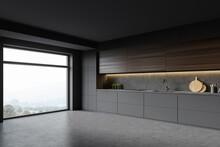 Grey Kitchen Corner With Woode...