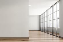 Empty Grey Room With Balcony