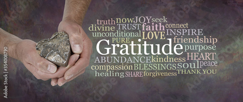 Photo Gratitude from the Heart Word Cloud - male hands gently cupped around a wooden h