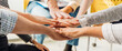 canvas print picture - Panoramic teamwork business join hand together concept, Business team standing hands together, Volunteer charity work. People joining for cooperation success business.